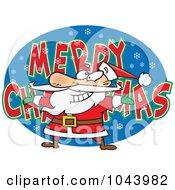 Royalty Free RF Clip Art Illustration Of A Cartoon Santa Over MERRY CHRISTMAS