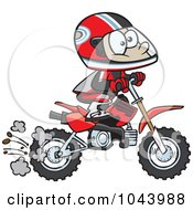 Royalty Free RF Clip Art Illustration Of A Cartoon Boy Riding A Dirt Bike by toonaday