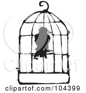 Black And White Woodcut Styled Bird In A Cage