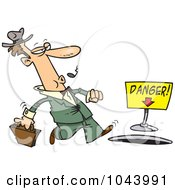 Cartoon Walking Businessman Nearing A Manhole