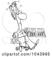 Royalty Free RF Clip Art Illustration Of A Cartoon Black And White Outline Design Of A Musician At His Mix Deck by toonaday