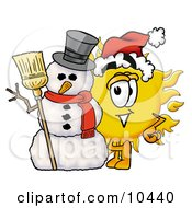 Clipart Picture Of A Sun Mascot Cartoon Character With A Snowman On Christmas by Toons4Biz