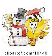 Sun Mascot Cartoon Character With A Snowman On Christmas