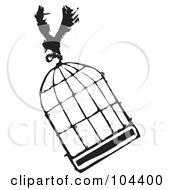 Royalty Free RF Clipart Illustration Of A Black And White Woodcut Styled Crow Flying With A Cage