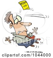 Royalty Free RF Clip Art Illustration Of A Cartoon Memo Knocking Out A Businessman