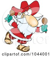 Royalty Free RF Clip Art Illustration Of A Cartoon Mexican Santa Shaking Maracas by toonaday