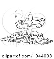 Royalty Free RF Clip Art Illustration Of A Cartoon Black And White Outline Design Of A Girl In A Pile Of Stinky Laundry