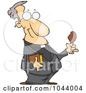 Royalty Free RF Clip Art Illustration Of A Cartoon Minister Holding A Bible And Drumstick