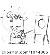Royalty Free RF Clip Art Illustration Of A Cartoon Black And White Outline Design Of A Businessman Pointing To A Board With A Hole