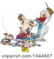 Royalty Free RF Clip Art Illustration Of A Cartoon Father Working From Home by toonaday