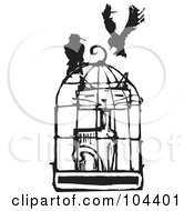Royalty Free RF Clipart Illustration Of A Black And White Woodcut Styled Cat In A Bird Cage Crows Above by xunantunich