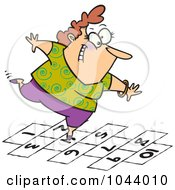 Royalty Free RF Clip Art Illustration Of A Cartoon Happy Woman Playing Hopscotch by toonaday