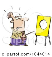 Royalty Free RF Clip Art Illustration Of A Cartoon Businessman Pointing To A Board With A Hole