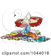 Royalty Free RF Clip Art Illustration Of A Cartoon Girl In A Pile Of Stinky Laundry by toonaday