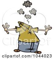 Royalty Free RF Clip Art Illustration Of A Cartoon Man Having A Mind Bomb by toonaday