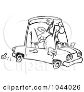 Cartoon Black And White Outline Design Of A Man Cramped Into His Mini Car
