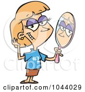 Royalty Free RF Clip Art Illustration Of A Cartoon Woman Staring Vainly In A Mirror