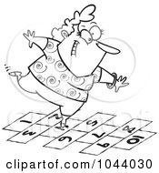Royalty Free RF Clip Art Illustration Of A Cartoon Black And White Outline Design Of A Happy Woman Playing Hopscotch