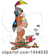 Royalty Free RF Clip Art Illustration Of A Cartoon Native American Man Fanning A Fire With A Memo