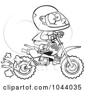 Royalty Free RF Clip Art Illustration Of A Cartoon Black And White Outline Design Of A Boy Riding A Dirt Bike by toonaday