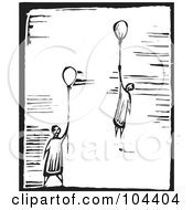 Royalty Free RF Clipart Illustration Of Black And White Woodcut Styled People Floating With Balloons by xunantunich