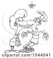 Royalty Free RF Clip Art Illustration Of A Cartoon Black And White Outline Design Of A Couple Smooching Under Mistletoe