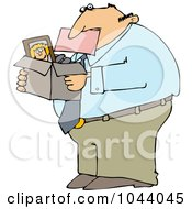 Royalty Free RF Clip Art Illustration Of A Fired Businessman Biting A Pink Slip And Carrying A Box Of His Stuff