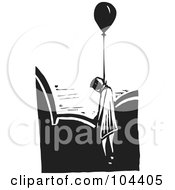 Royalty Free RF Clipart Illustration Of A Black And White Woodcut Styled Dead Man Hanged By A Balloon Floating Above Clouds by xunantunich