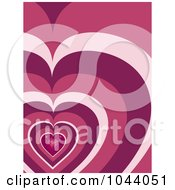 Royalty Free RF Clip Art Illustration Of A Sparkling Pink Mosaic Heart Over A Retro Heart Pattern Background