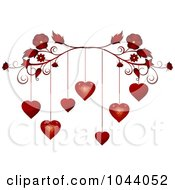 Red Flourish With Red Valentine Hearts Dangling