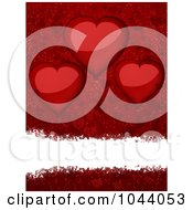 Royalty Free RF Clip Art Illustration Of A White Grungy Text Bar Over Red With Shiny Heart Balloons by elaineitalia