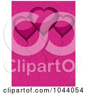 Royalty Free RF Clip Art Illustration Of Shiny Pink Heart Balloons Over Pink by elaineitalia