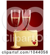 Royalty Free RF Clip Art Illustration Of A Golden Valentine Tag With Two Glasses Of Champagne Over Red