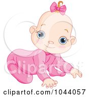 Royalty Free RF Clip Art Illustration Of A Baby Girl Crawling