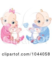 Royalty Free RF Clip Art Illustration Of A Digital Collage Of A Baby Boy And Baby Girl Holding Teddy Bears