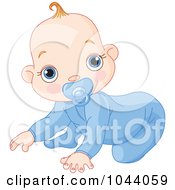 Royalty Free RF Clip Art Illustration Of A Baby Boy Crawling