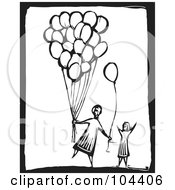 Royalty Free RF Clipart Illustration Of A Black And White Woodcut Styled Person Giving Away Balloons by xunantunich