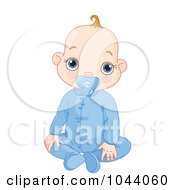 Royalty Free RF Clip Art Illustration Of A Baby Boy With A Pacifier