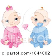 Royalty Free RF Clip Art Illustration Of A Digital Collage Of A Baby Boy And Girl With Pacifiers