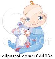Royalty Free RF Clip Art Illustration Of A Baby Boy Holding A Teddy Bear