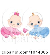 Royalty Free RF Clip Art Illustration Of A Digital Collage Of A Baby Boy And Girl Crawling