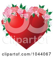 Royalty Free RF Clip Art Illustration Of A Red Heart With Pink And Red Roses
