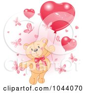 Royalty Free RF Clip Art Illustration Of A Teddy Bear With Butterflies And Valentine Heart Balloons