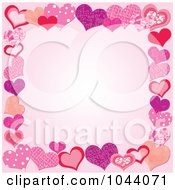 Royalty Free RF Clip Art Illustration Of A Pink Background Bordered By Patterned Hearts