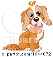 Royalty Free RF Clip Art Illustration Of A Spoiled Cocker Spaniel Dog Wearing A Crown by Pushkin