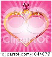Gold Heart Frame With A Gem Over Pink Rays