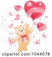 Royalty Free RF Clip Art Illustration Of A Valentine Teddy Bear With Butterflies And Heart Balloons