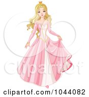 Royalty Free RF Clip Art Illustration Of A Beautiful Blond Princess In A Pink Dress