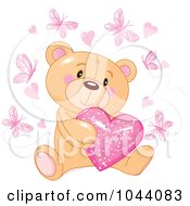 Royalty Free RF Clip Art Illustration Of A Teddy Bear Hugging A Pink Heart Surrounded By Butterflies