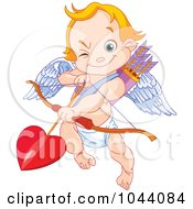 Royalty Free RF Clip Art Illustration Of A Cute Cupid Aiming Loves Arrow by Pushkin